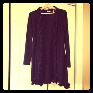 Jackets & Blazers - Beautiful long black cardigan with ruffle detail