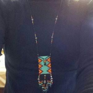 Beaded pouch necklace