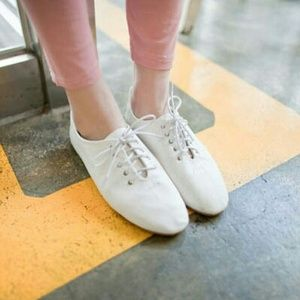 White Vintage lace-up Oxfords Style Casual Shoes