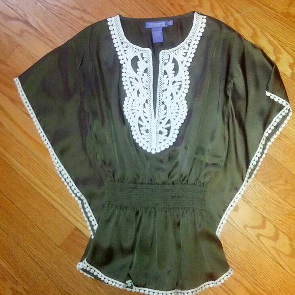 5aa8e722803cb2 Vivienne Tam Silk Olive Green Peasant Blouse XS. M 5364167494c7de27b10a001f