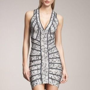 Herve Leger Floral Grey dress 100% authentic