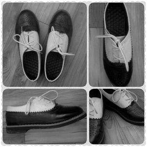 Black and beige oxfords