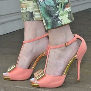 Shoedazzle Coral t-strap pumps