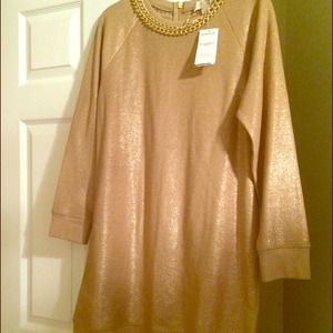 MICHAEL Michael Kors Sweaters - Michael Kors Bronze/Gold Chain Sweater Dress/Tunic