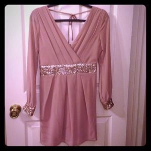 REDUCED! Gorgeous blush dress with gold sequins!