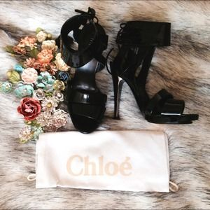 Chloe Shoes - Chloe Black Strappy Patent Heels 36.5
