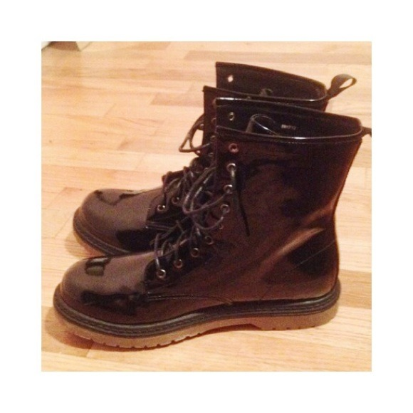 russe shiny doc marten combat boots dupes