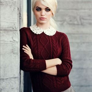 H&M Sweaters - Daphne Groeneveld's H&M Cable Sweater in Burgundy