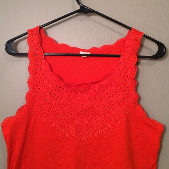 J. Crew Tops - J.Crew Embroidered Red Tank, Size M