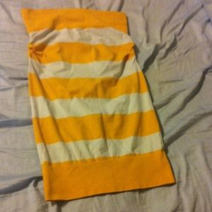 Yellow and white stripe strapless stretchy dress