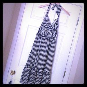 Chic chiffon black & ivory stripe halter dress