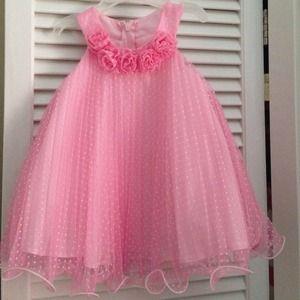 Pink white polka dot toddler girl Formal Dress