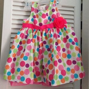 Rainbow polka dot dress with pink mesh petty coat