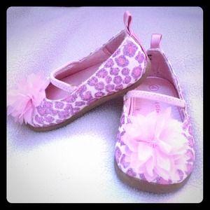 Pink glitter cheetah dress shoes