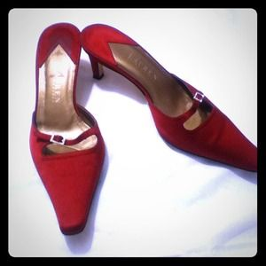 Lauren Ralph Lauren Red Satin Mules Size 7.5B