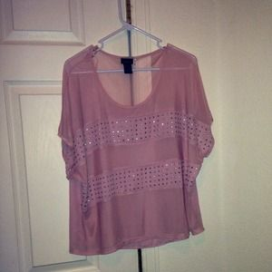 Tops - Beautiful silk pink shirt with shiny accents.
