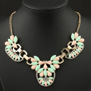Mint and Peach Gemstone Statement Necklace
