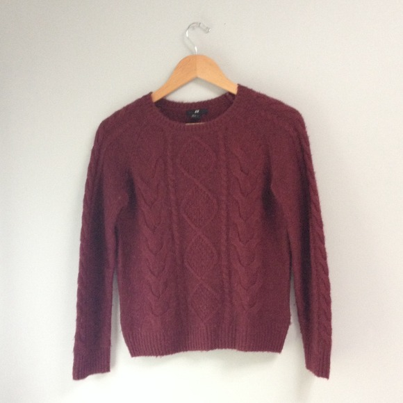 67% off H&M Sweaters - H&M Oxblood/Maroon Cable Knit Sweater from ...