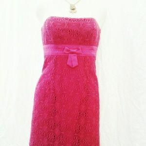 LAUNDRY Shelli Segal Strapless Fushia Dress