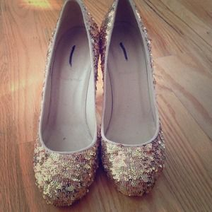 Collection J.Crew gold sequin Etta pumps