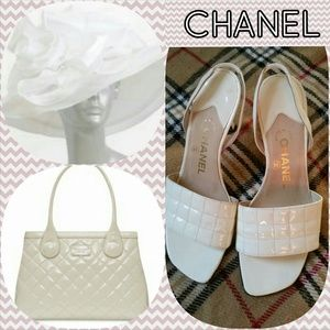 CHANEL Quilted Patent Slingback Sandals