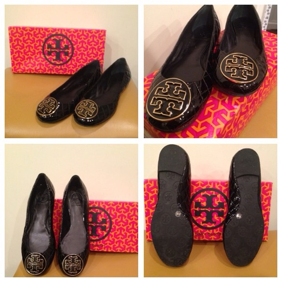 Tory Burch Patent Quilted Quinn Flats