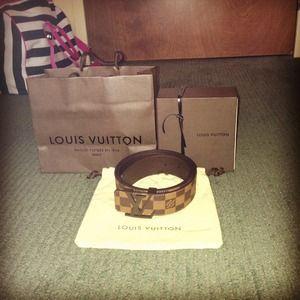 Authentic Brown Damier Louis Vuitton Belt