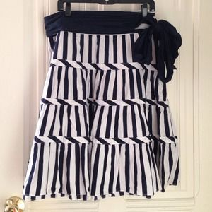 Zara navy blue & white striped skirt - size Large