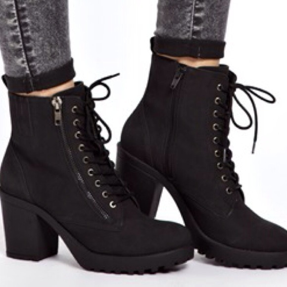 53% off ASOS Boots - HP | New Look Croydon Lace Up Chunky Heeled ...