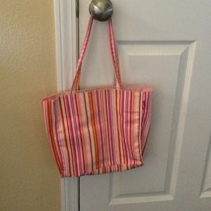 Handbags - Stripped small shoulder bag with pink lining.