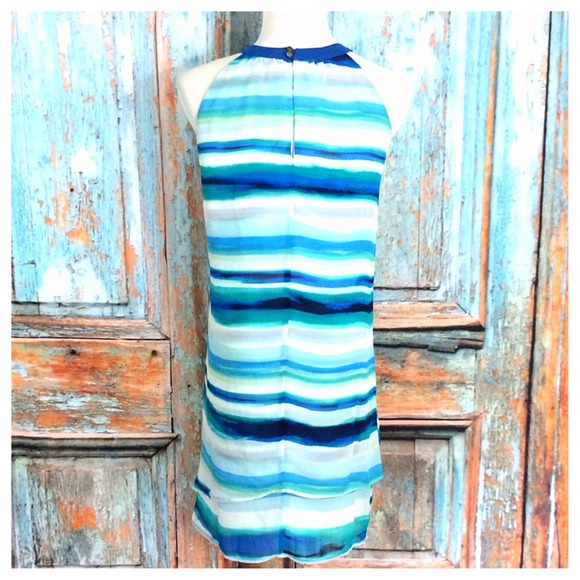 Dresses - Blues/Navy/Aqua Striped Dress