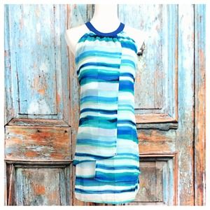 Dresses - Blues/Navy/Aqua Striped Dress 1