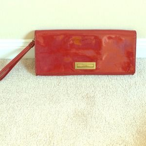 Cole Haan patent leather red clutch
