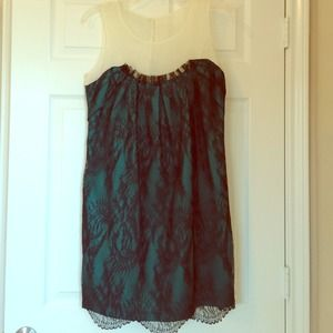 Sleeveless green lace dress