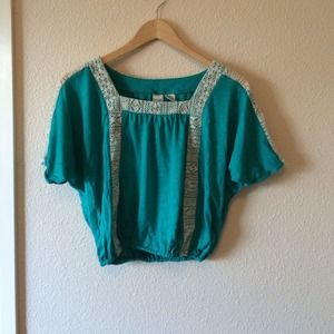 Turquoise summer crop top w/ lace detailing
