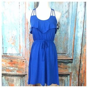 Blue Sleeveless Jumper Dress