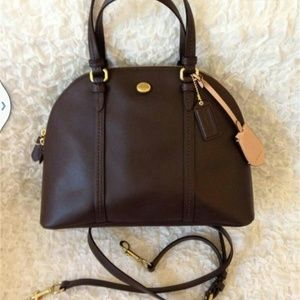 COACH F25671 LEATHER CORA DOMED SATCHEL -MAHOGANY