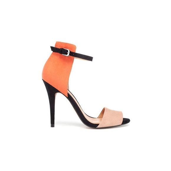 30% off Zara Shoes - Zara Two Tone Heels - Orange, Tan & Black ...