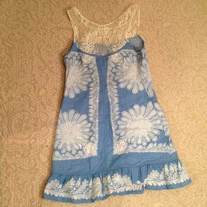 Linen and Lace Sky Blue A-line Summer Dress