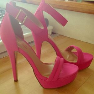 Hot pink ankle strap heels