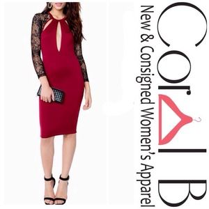Dresses & Skirts - Burgundy Red Lace Midi Dress