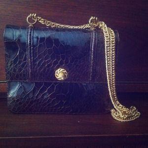 Handbags - Vintage brown faux crocodile skin bag