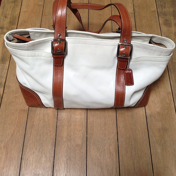 85% off Coach Handbags - Coach XL Multifuntion White and Tan ...