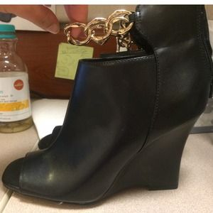 Black gold chain booties