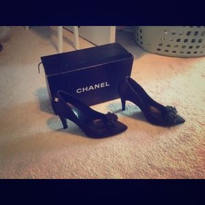 Black satin Chanel shoes