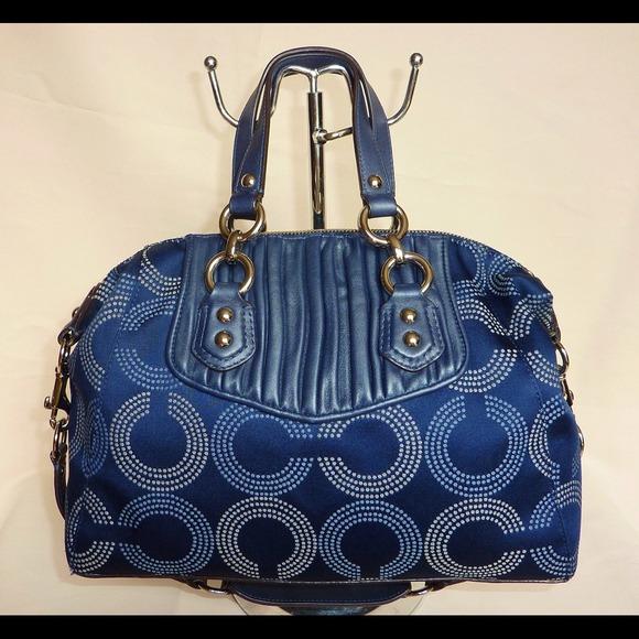 71% off Coach Handbags - COACH MADISON DOTTED OP ART BLUE SATCHEL ...