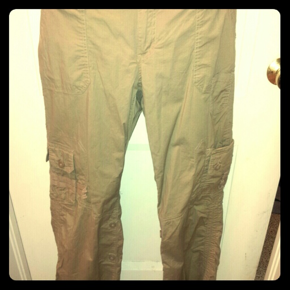 Awesome Old Navy Beige Natural Linen Color Cargo Style Pants Womens Size 2