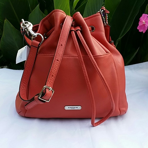 56% off Coach Handbags - Coach Avery Leather Drawstring Bag Purse ...