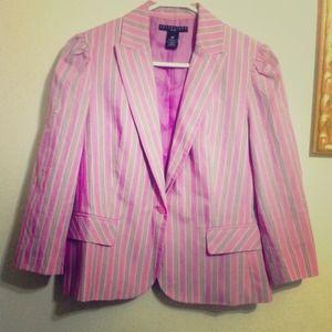 Apostrophe Jackets & Blazers - Apostrophe Violet/Stripes Blazer