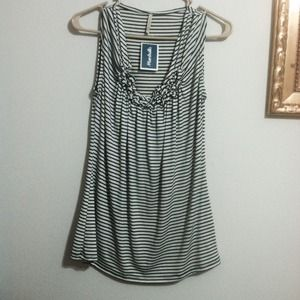 Olivia Moon Tops - NWT navy blue and white striped stretchy tank